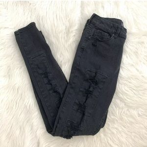 Kendall & Kylie High Rise Distressed Black Jeans